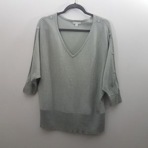 New York & Co Solid Gray Metallic Thread Sweater